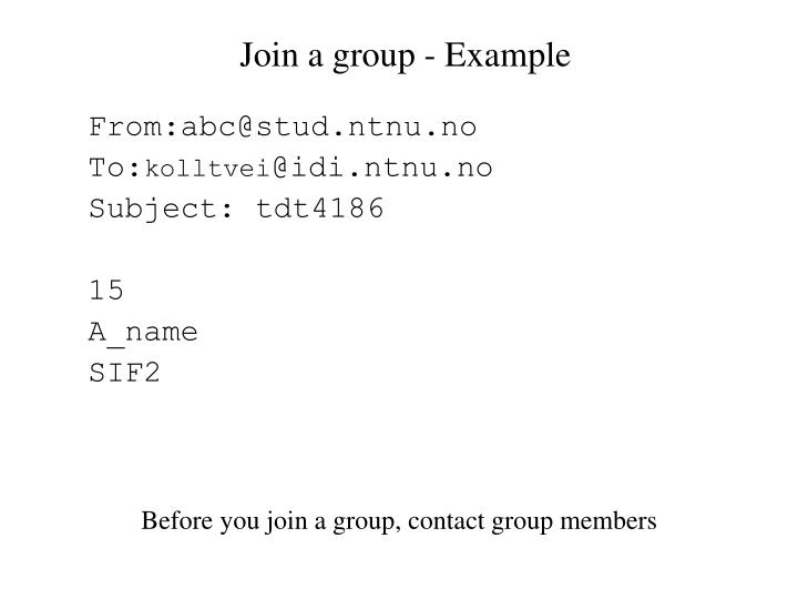 Join a group - Example