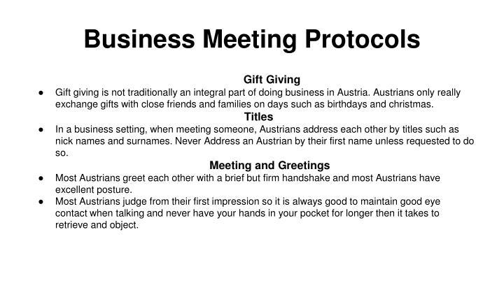 Business Meeting Protocols