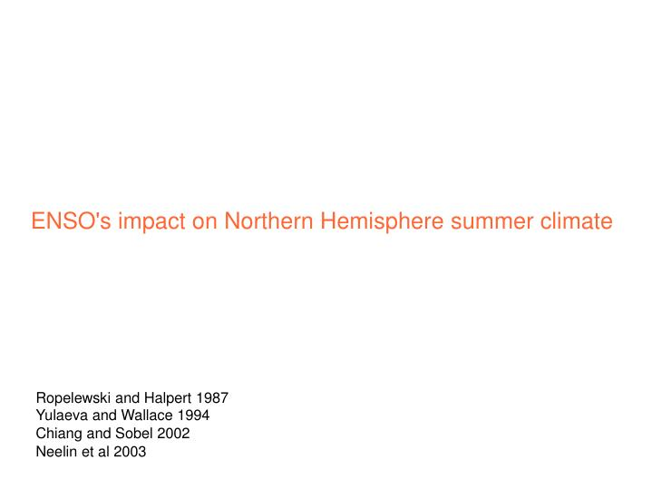 ENSO's impact on Northern Hemisphere summer climate