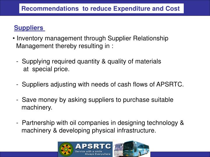 Recommendations  to reduce Expenditure and Cost