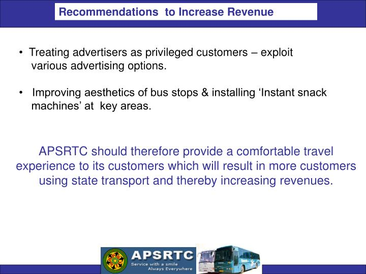 Recommendations  to Increase Revenue