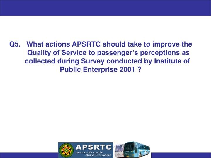 Q5.   What actions APSRTC should take to improve the