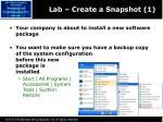 lab create a snapshot 1