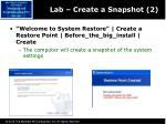 lab create a snapshot 2