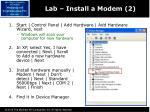 lab install a modem 2