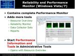 reliability and performance monitor windows vista 7
