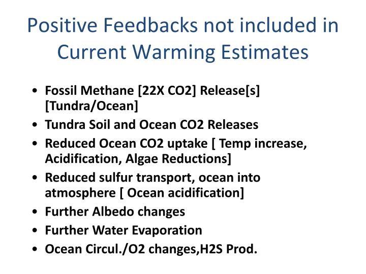 Positive Feedbacks not included in Current Warming Estimates