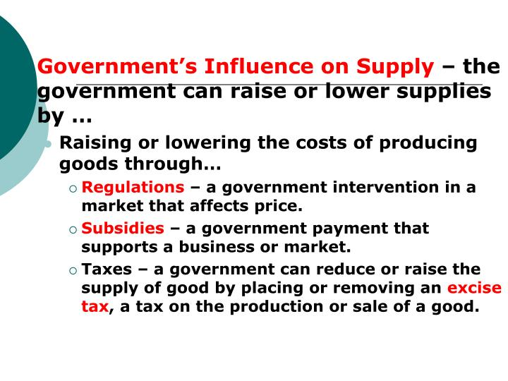 Government's Influence on Supply