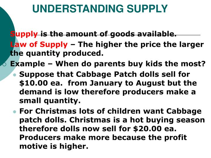 UNDERSTANDING SUPPLY