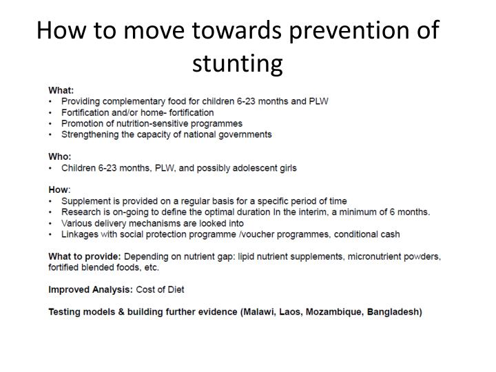 How to move towards prevention of stunting