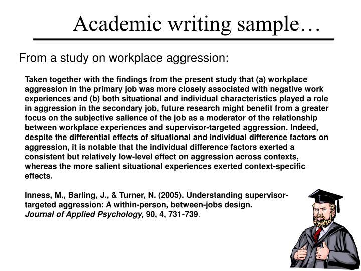 Academic writing sample…