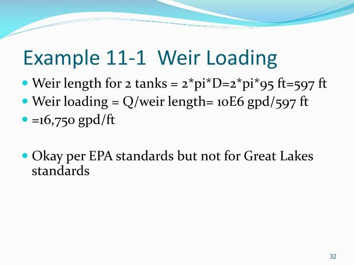 Example 11-1  Weir Loading
