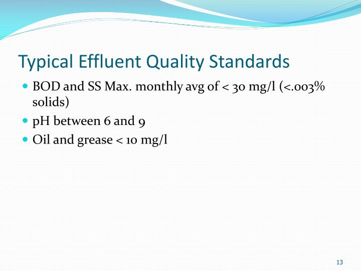 Typical Effluent Quality Standards