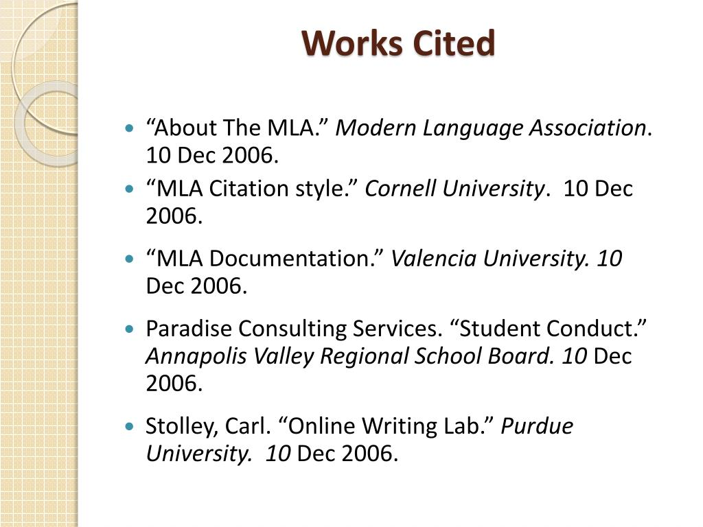 Ppt Mla Guidelines Powerpoint Presentation Id 5346365