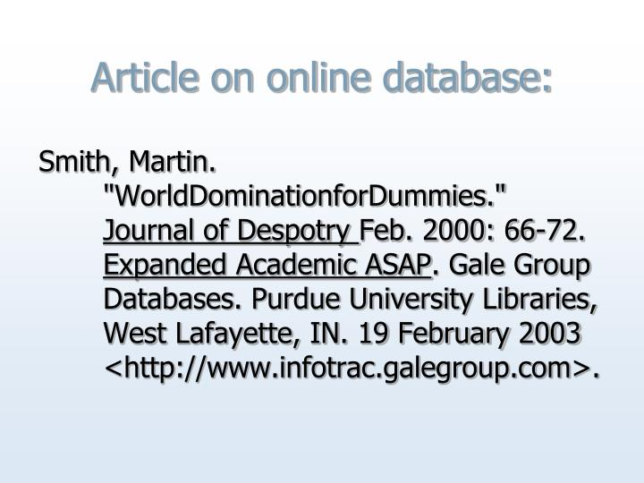 Article on online database: