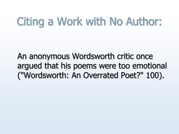 Citing a Work with No Author: