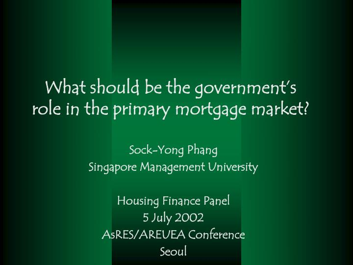 what should be the government s role in the primary mortgage market n.