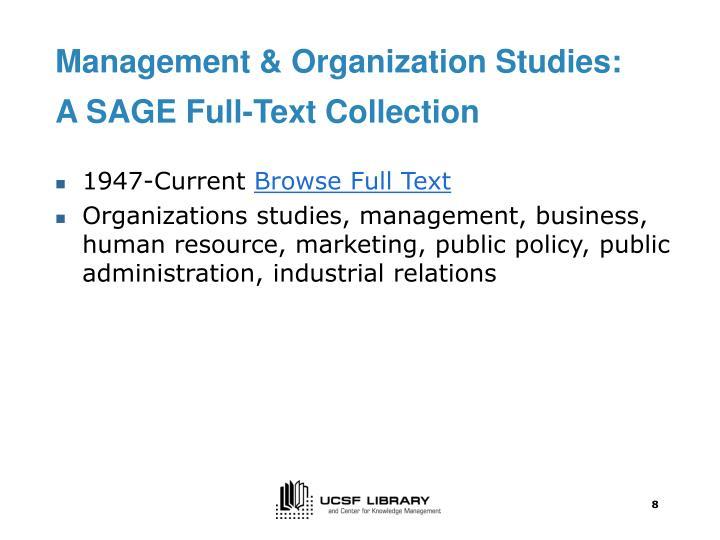 Management & Organization Studies: