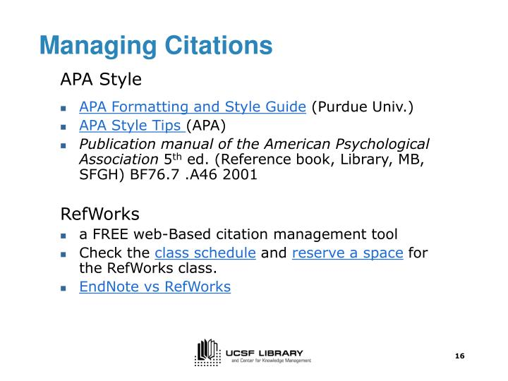 Managing Citations