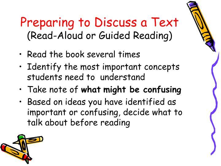 Preparing to Discuss a Text