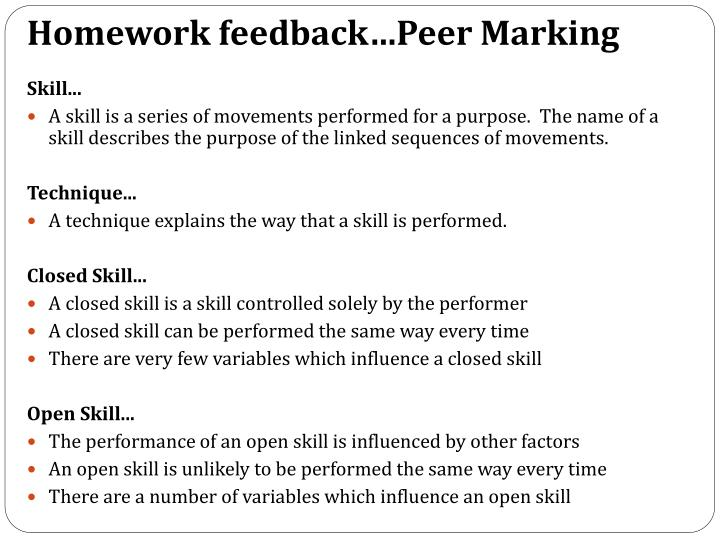 Homework feedback…Peer Marking