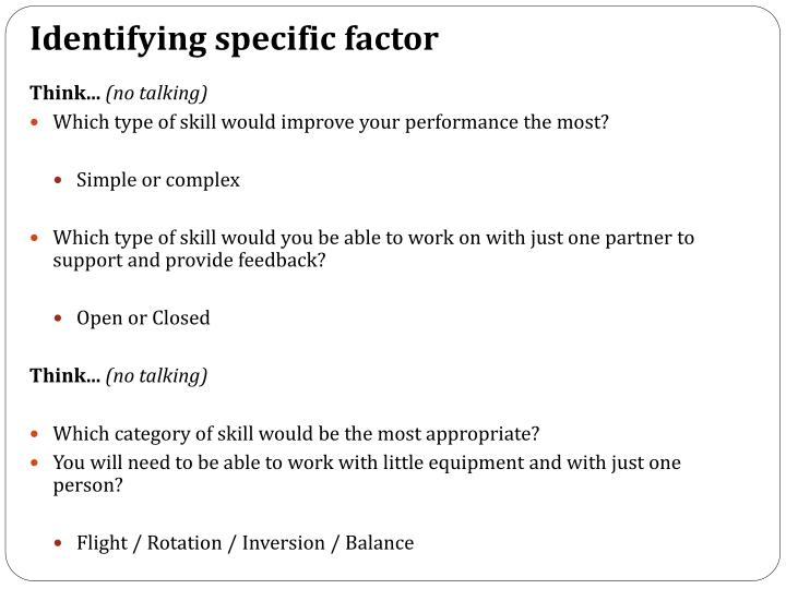 Identifying specific factor