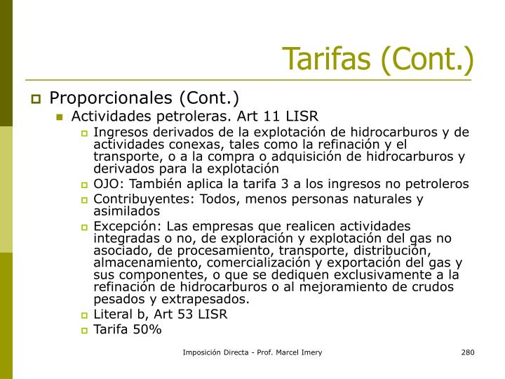 Tarifas (Cont.)