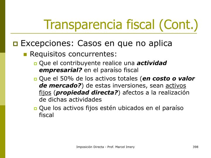 Transparencia fiscal (Cont.)