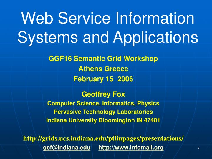 web service information systems and applications n.