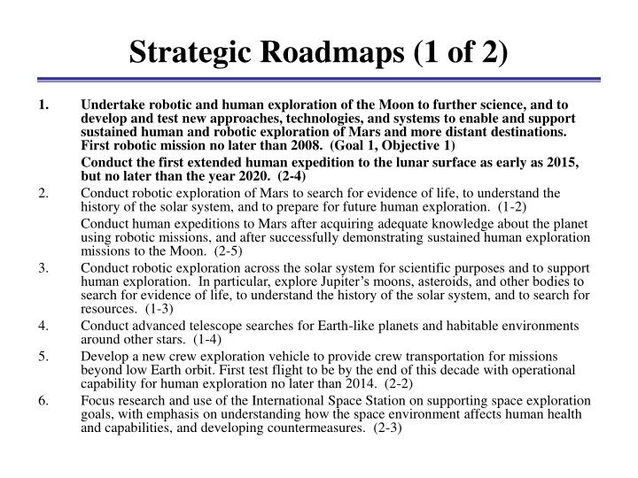Strategic Roadmaps (1 of 2)