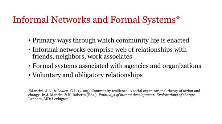 Informal Networks and Formal Systems*