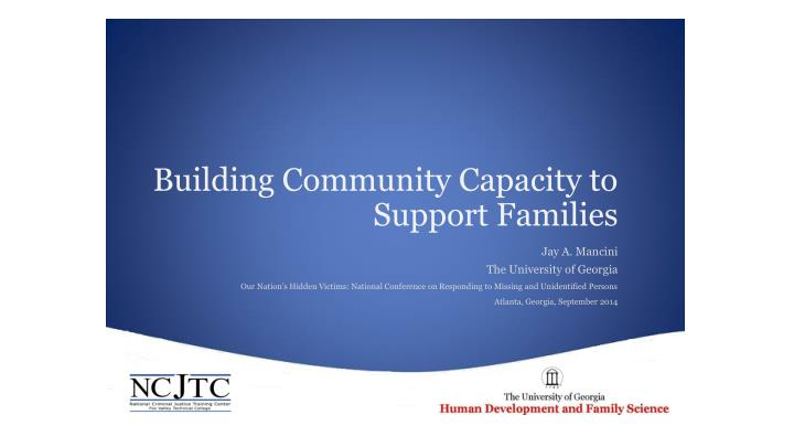 Building Community Capacity to Support Families