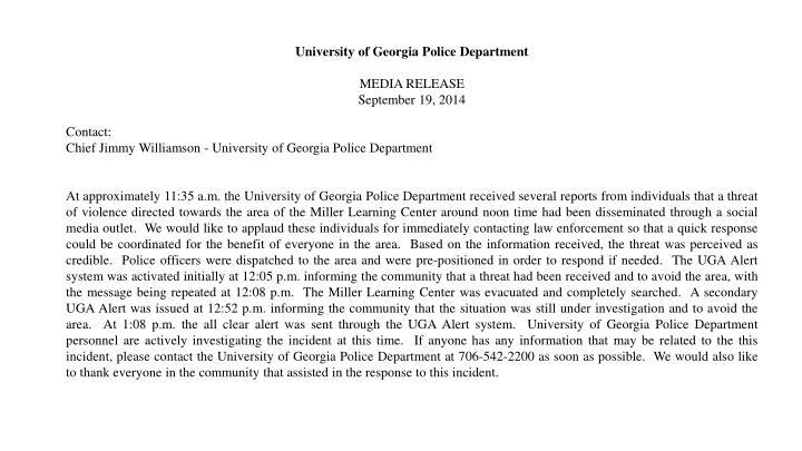 University of Georgia Police Department