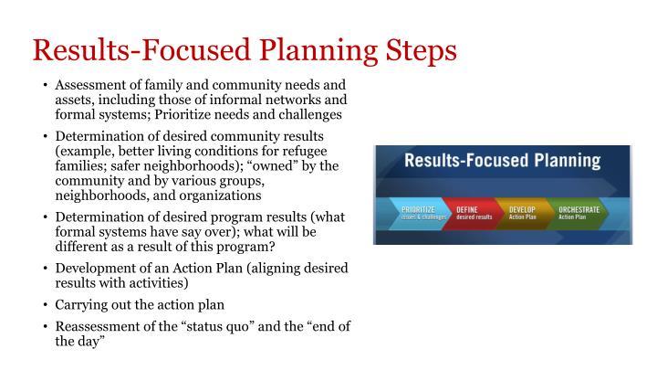 Results-Focused Planning Steps