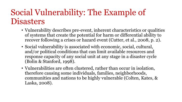 Social Vulnerability: The Example of Disasters