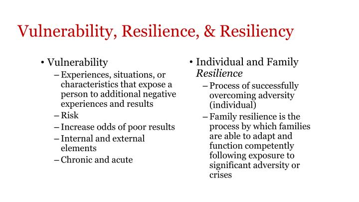 Vulnerability, Resilience, & Resiliency