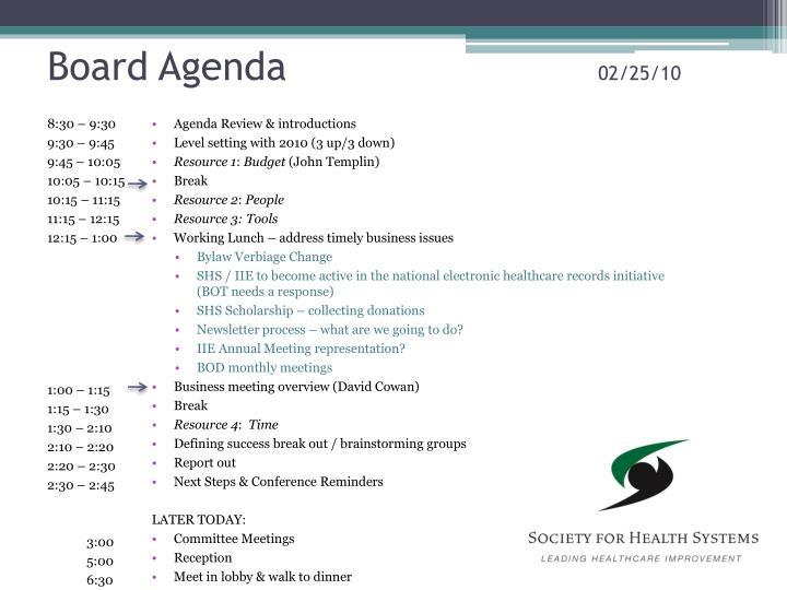 Board agenda 02 25 10