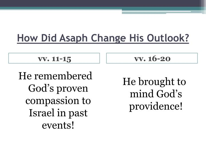 How Did Asaph Change His Outlook?