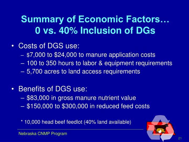 Summary of Economic Factors…
