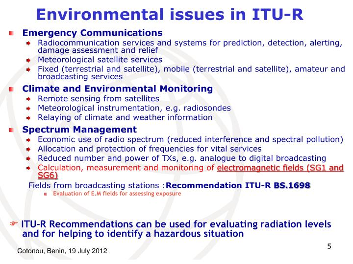 Environmental issues in ITU-R