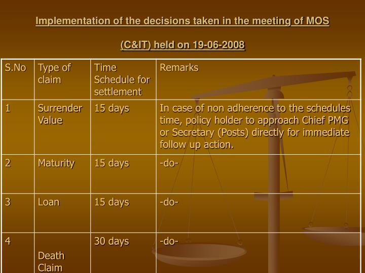 Implementation of the decisions taken in the meeting of MOS (C&IT) held on 19-06-2008