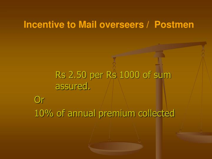 Incentive to Mail overseers /  Postmen