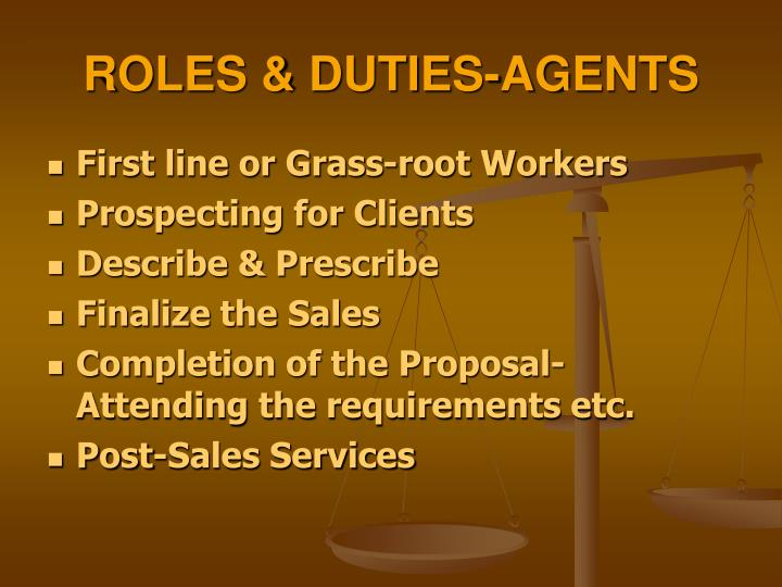 ROLES & DUTIES-AGENTS
