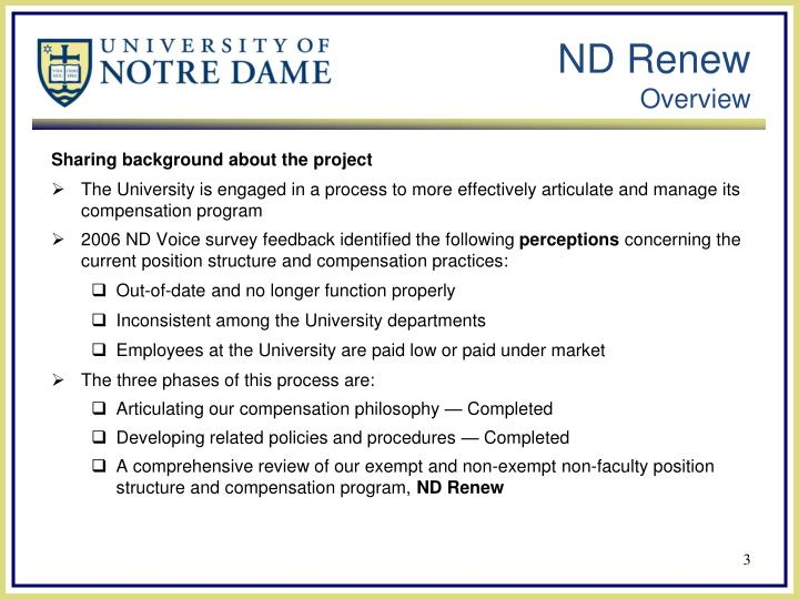Nd renew overview