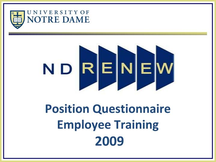 Position questionnaire employee training 2009