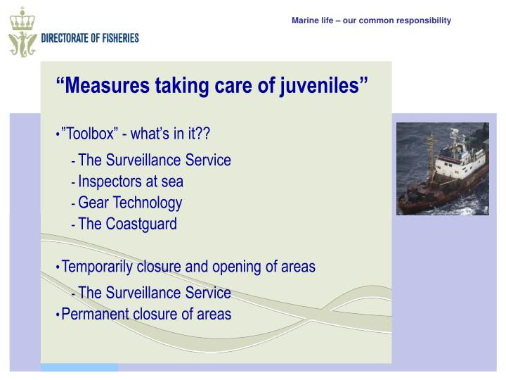 Measures taking care of juveniles