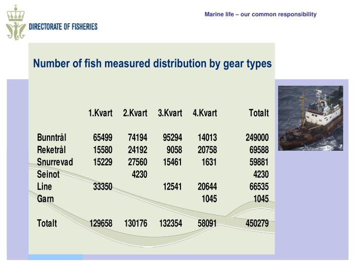 Number of fish measured distribution by gear types