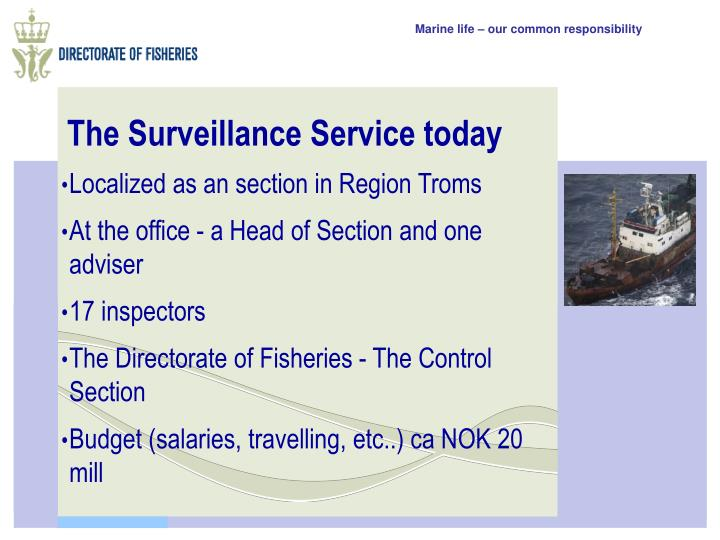 The Surveillance Service today