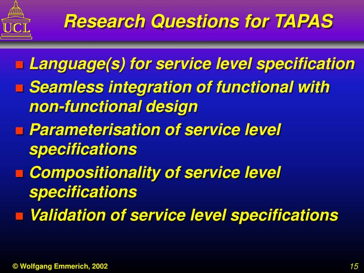 Research Questions for TAPAS