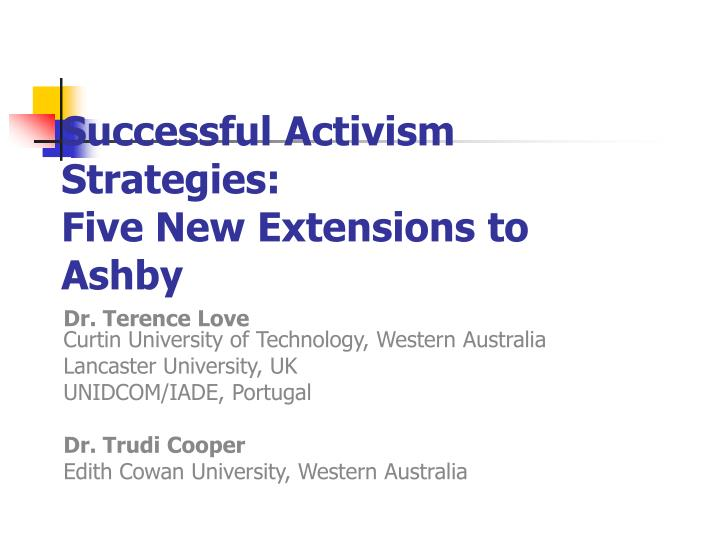 Successful activism strategies five new extensions to ashby